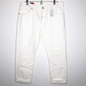 LEVI'S 501 CT Crop Distressed White Jeans